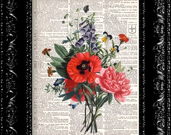Red Poppy Flowers - Vintage Dictionary Print Vintage Book Print Page Art Upcycled Vintage Book Art
