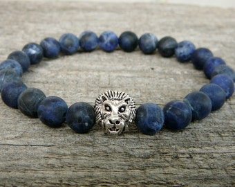 Mens Lion Bracelet, Men's Jewelry, Sodalite Gemstone Bracelet, Lion Beaded Bracelet, Lion Stretch Bracelet, Blue Bracelet, Sodalite Bracelet