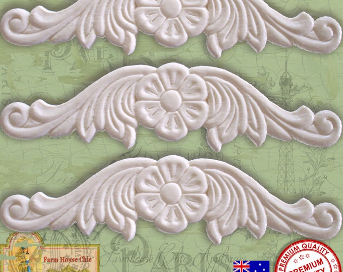 Set of 3 Shabby French Chic Furniture Mouldings, Furniture Appliques, Furniture Carvings, Furniture Decorationss. Made in Australia