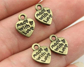 20 Made with Love Heart Charms, Antique Bronze Plated Charms (1I-14)