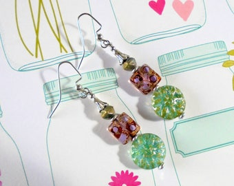 Aquamarine and Alexandrite Boho Earrings (4085)