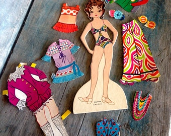 Stephanie Paper Doll Set In Original Box |  1960s Cute Mod 1960s Style 31 Piece Paper Doll Set |  Whitman Stephanie the Teenage Model