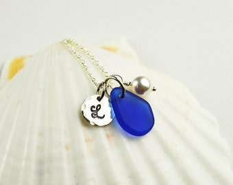 Personalized necklace cobalt blue sea glass necklace with initial sea glass jewelry frosted glass jewellery gift for mother sister friend