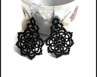 Black Lace earrings with Black Beads Tatted earrings Victorian earrings Black Lace jewelry Bridesmaid gift Womens gift
