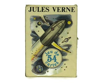 Jules Verne Playing Cards Deck. Vintage Pack of Cards by Grimaud in Box. Casino Party & Game Room Decor. Gifts For Him.