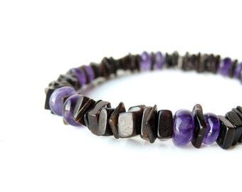 "Black shell bracelet for men with purple amethyst gemstone. - ""Midnight Amethyst"""
