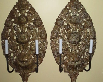 Rare Antique Stunning Pair of Elaborate Brass Stamping Reticulated Wall Sconces, 30 inches high