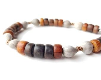 Tribal men's bracelet - wooden bracelet with home grown seeds - Copper Job's Tears