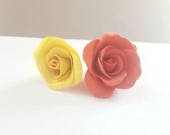 Set of 2 roses hand - made Orange yellow color