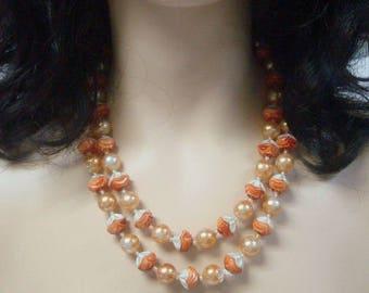 Orange & Ivory Necklace Unique Beads VIntage Jewelry Costume  Orange Necklace Fall Necklace Autumn Necklace