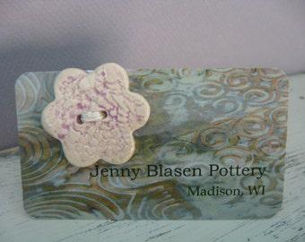Button - Lavender Purple Ceramic  Button - Flower Button