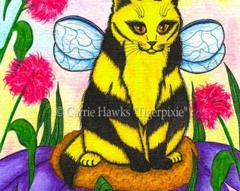 Cat Fairy Painting Bumble Bee Fairy Cat Art Winged Cat Fantasy Cat Art Print 8x10 Cat Lovers Art