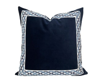 Navy Velvet Pillow Cover with Blue and White Trim