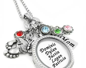 Mother and Children Personalized Birthstone Locket, With Children's Name, Engraved charm, and also for Grandma in stainless steel