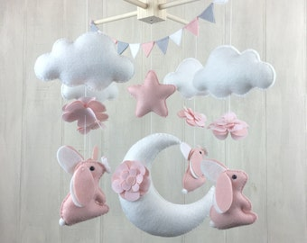 Baby mobile - bunny mobile - flower mobile - moon mobile - cloud mobile - blush and white - baby mobiles - nursery decor