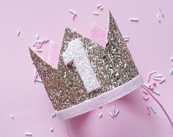 Birthday Crown || Pink and Gold Birthday || Gold Crown || Birthday Girl || First Birthday || Baby Crown || Birthday Girl