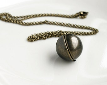 Antique Brass Ball Locket Necklace