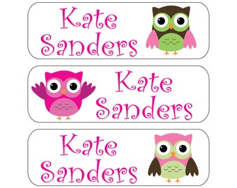 100 Owl Waterproof Kid's Pacifier (or baby food) Labels - Dishwasher Safe - Also great for sippy cups, bottles, lunch boxes, jars Paci-001