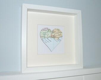 Memory Map, Framed Map Shape, Personalised Map Frame, Wedding Gift, Anniversary Gift, Birthday Gift, Housewarming Gift, Engagement Gift
