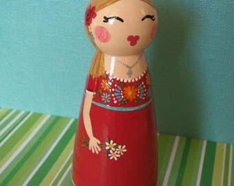 Hand Painted Love Boxes Happy Birthday Senorita Girl custom Peg Doll Wood