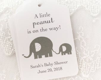 Elephant Baby Shower Tags Elephant Baby Tags, A Little Peanut Tags, Thank You Tags, Set of 10
