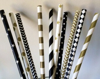 Art Deco- Roaring 20s- Gatsby Wedding Straws! 100 Black and Gold Party Straws that will add that pop to your party