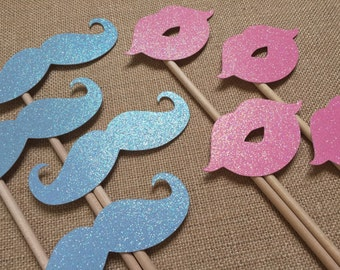 Gender Reveal Photo Booth Props . Gender Reveal . Baby Shower . Girl and Boy . Pink and Blue . Lips and Mustaches . Glitter . Set of 8
