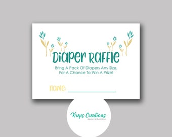 Diaper Raffle Card for Baby Shower / Matching Teal Giraffe