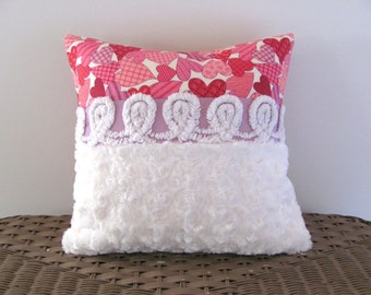 pink and purple chenille pillow cover 14 X 14 HAPPY HEARTS pink cushion white pillow cottage style Valentine pillow
