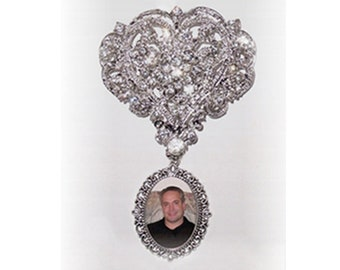 Memorial Brooch Photo Charm Cinderella Heart Silver Clear Crystals Gems - FREE SHIPPING