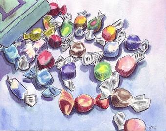 Watercolor Painting - Salt Water Taffy Art, Watercolor Art Print, 8x10, Candy Series no. 9