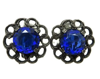Gunmetal Earrings, Blue Rhinestone Earrings, Vintage STAR Jewelry, Gunmetal Flower Clip on Earrings, Royal Blue Flower Earrings