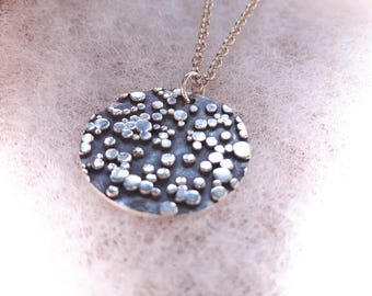 Pendant, lockets, chain included, texture, stars, bubbles, fused, constellation, circle, 925 sterling silver