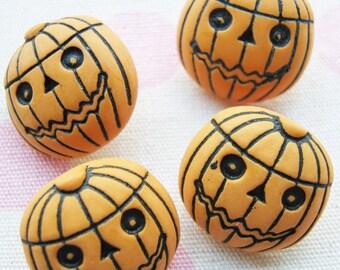 Jack O Lantern orange pumpkin shank buttons - 18 pcs