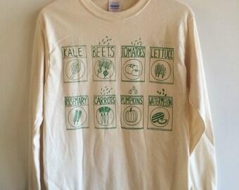 Garden T-Shirt, Kale Shirt, Foodie Gift, Gardening Gift, Long Sleeve, Vegetable Shirt
