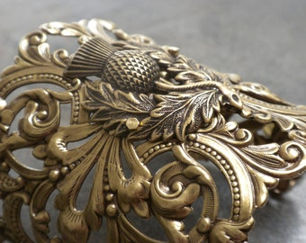 Scottish Thistle Outlander Jewelry Brass Cuff Bracelet