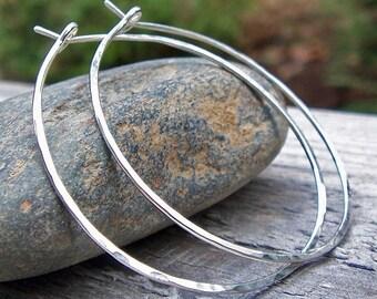 1.5 inch Sterling Silver Hoop Earrings, Argentium Sterling Silver, Hammered Hoops, Large Hoops, Modern, Classic, Bohemian, Thin Hoops