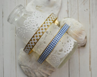 Women's Preppy Bangle Bracelet - Gold Polka Dots & Blue Gingham
