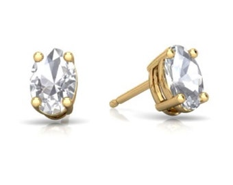 14Kt Yellow Gold White Sapphire Oval Stud Earrings