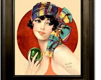 Art Deco Flapper Art Print 8 x 10 - Roaring 20s - Jazz Age - Bathing Suit - 1920s Pin Up Girl Art
