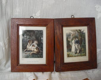 Pair of early 19th century Prints.  Pair of French Coloured Prints. Small Pair of  Prints. Framed Prints.
