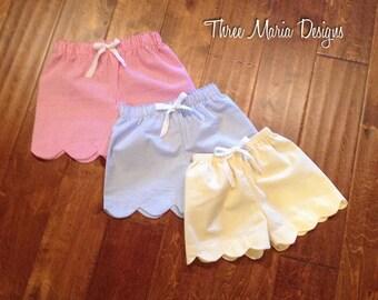 Girls Scalloped Seersucker Shorts
