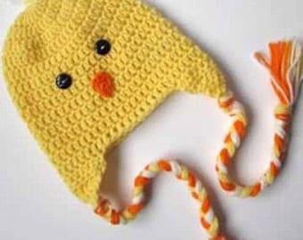 Made to order - kids chick hat- toddler crochet braided animal beanie, handmade