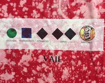 vtg 1987 VAIL Suicidal T-Shirt Large ALL OVER Bleach Splatter Punk Ski Skate 80s