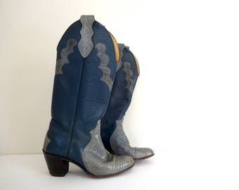Vintage CUSTOM JUSTIN Boots •Made in USA •Light Blue Teal Western Tall Cowboy Cowgirl Alligator Leather •1970s 1980s • Size 5 B 6 Women
