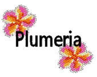Brick Stitch Earring Pattern Plumeria Flower Tropical Hawaiian Whimsical Floral Digital PDF Pattern Delica Seed Bead Pattern