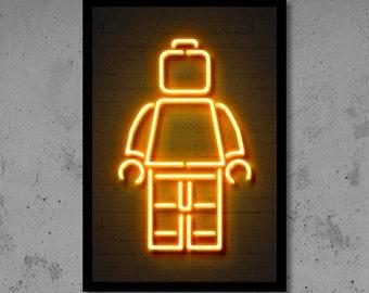Lego art print poster lego wall art minifig art lego decor lego neon neon art neon sign neon print neon effect christmas gift street art