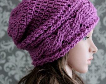 Crochet PATTERN - Slouchy Hat Crochet Pattern - Crochet Slouchy Hat Pattern - Crochet Cable Hat Pattern - 4 Sizes Baby to Adult - PDF 415