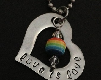 "Handstamped Rainbow Necklace ""Love is Love"""