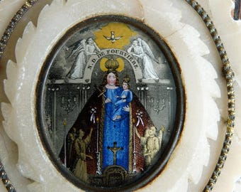 Antique 1800s Virgin Mary Reversed Glass Painting Reliquary, Notre Dame de Fourvière, offered by RusticGypsyCreations